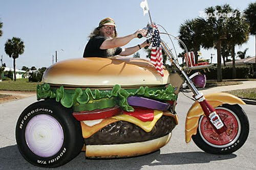 Hamburger harry riding burger bike